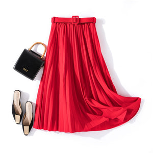Belted B pleated midi skirt