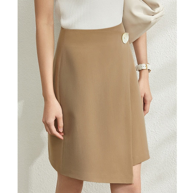 Solid Irregular High Waist Skirt