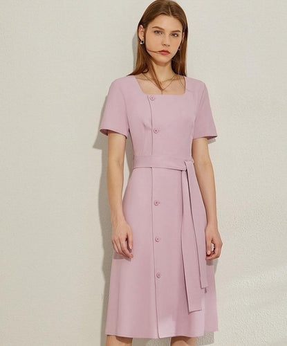 Square Collar Single-breasted Belt Dress