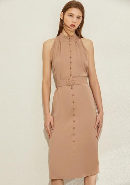 Halter Belted Knee-length Aline Dress