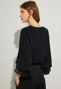 Embroidery Hollow Out Vneck Loose Blouse
