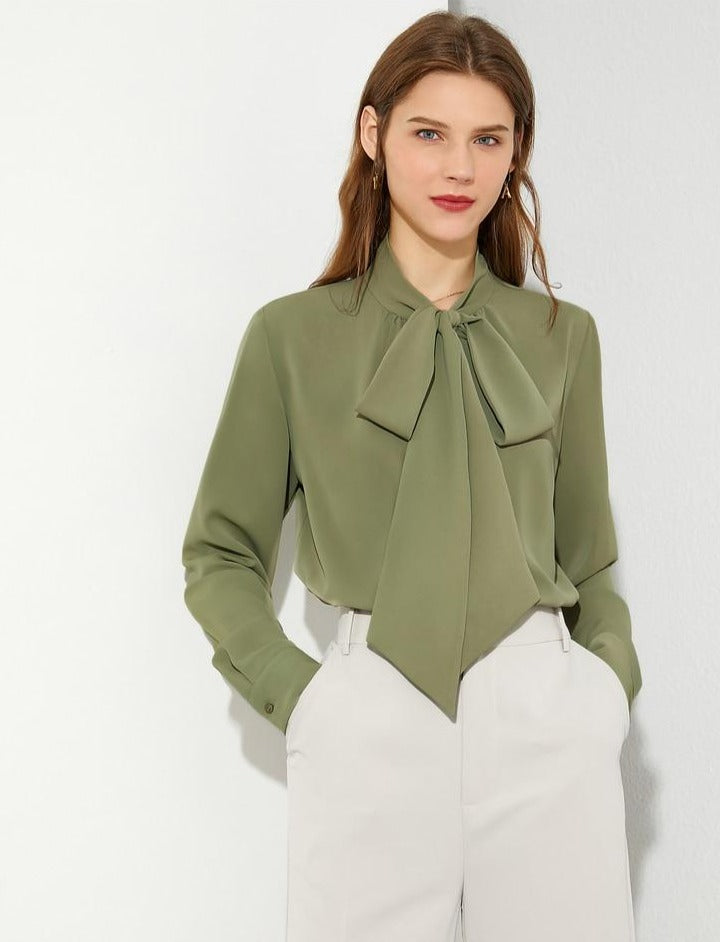 Bow Neck Loose Blouse
