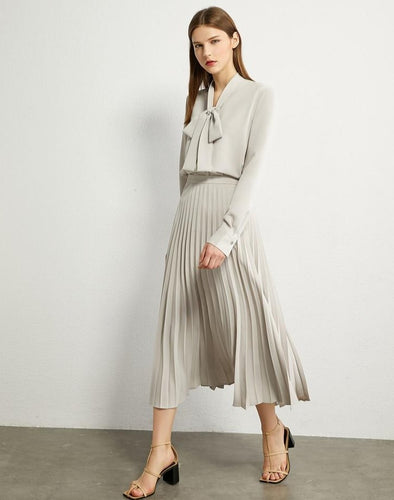 Bow Neck Loose Blouse High Waist Pleated Skirt