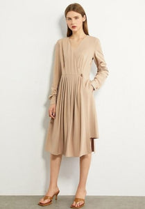 Pleated Solid Knee-length Khaki Dress