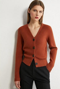 Knitted Vneck Single-breasted Cardigan