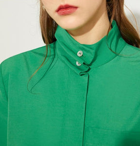 Stand Collar Full Sleeve Loose Blouse