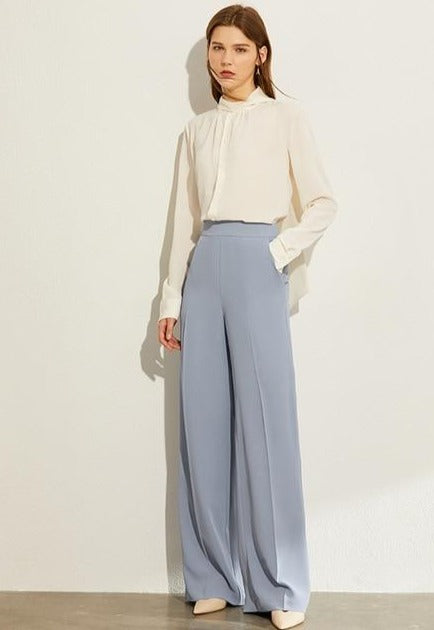 Solid Loose Wide Leg High Waist Trousers