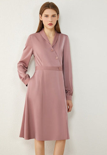 Silk Lapel High Waist Midi Dress