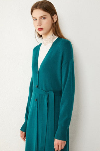 V Belt Loose Knitted Cardigan Overcoat