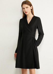 Temperament Vneck High Waist Dress