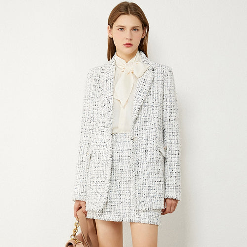 Temperament Plaid Tweed Jacket & High Waist Aline Mini Skirt