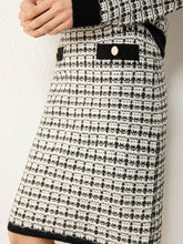 Load image into Gallery viewer, Vneck Plaid Knitted Sweater & High Waist Aline Skirt