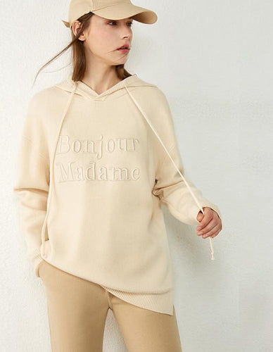 Embroidery Letter Loose Full Sleeve Hoodie