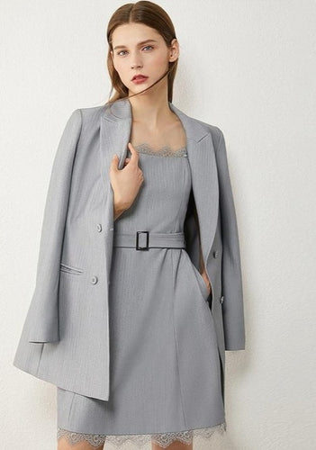 Lace Spliced Mini Skirt & Lapel Single-breasted Blazer