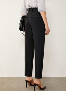 Solid High Waist Straight Trousers
