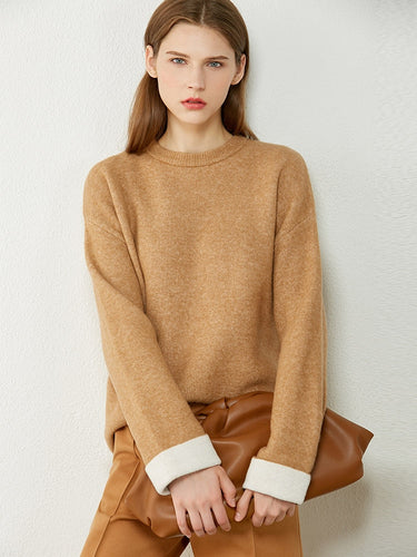 Oneck Spliced Loose Sweater