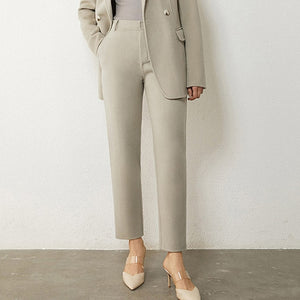 Wool Solid Belt Blazer Coat & High Waist Solid Pants