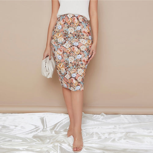 Allover Floral Pencil Slim Skirt