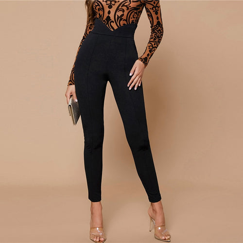 Notch Wide Waistband Skinny Zipper Cropped Pants