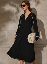 Load image into Gallery viewer, VNeck FSleeve High Waist Midi Dress