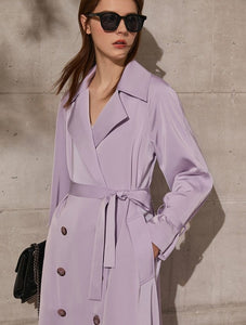 Lapel Patchwork Double Breasted Trench Coat