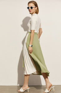 Patchwork Aline Pleated Wavy Skirt