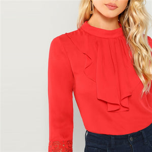 Red Lace Cuff Ruffle Blouse