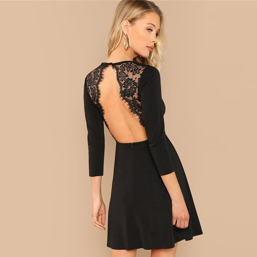 Black Lace Contrast Backless Party Dress