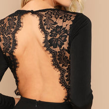 Load image into Gallery viewer, Black Lace Contrast Backless Party Dress