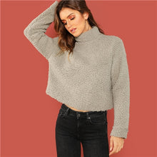 Load image into Gallery viewer, Grey Preppy Solid Mock-Neck Teddy Pullover