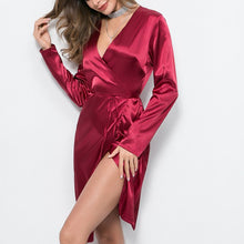 Load image into Gallery viewer, Bandage Long Sleeve Midi Satin Dress