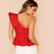 Load image into Gallery viewer, Ruffle Trim One Shoulder Peplum Top