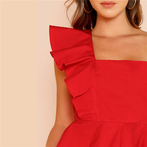 Ruffle Trim One Shoulder Peplum Top