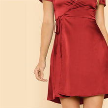 Load image into Gallery viewer, Surplice Wrap Belted Satin Red Dress