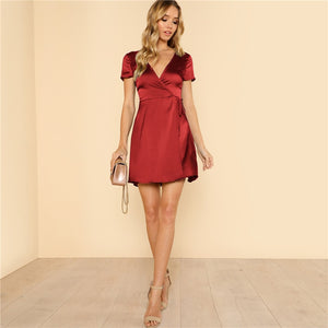 Surplice Wrap Belted Satin Red Dress