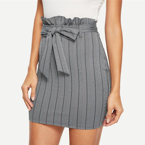 Grey Pinstripe Belted Zipper Bodycon Pencil Skirt