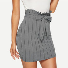 Load image into Gallery viewer, Grey Pinstripe Belted Zipper Bodycon Pencil Skirt