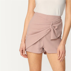 Pink Loop Detail Zipper Back Wrap Solid Shorts