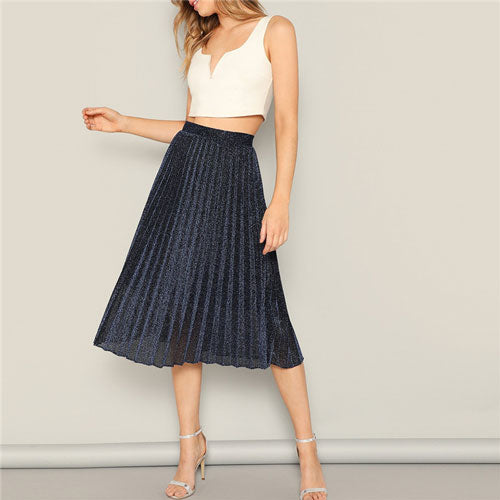 Navy Elastic Waist Glitter Pleated Skirt