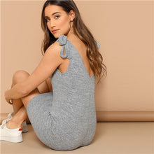 Load image into Gallery viewer, Grey Knot Strap V-Back Tank Bodycon Dress