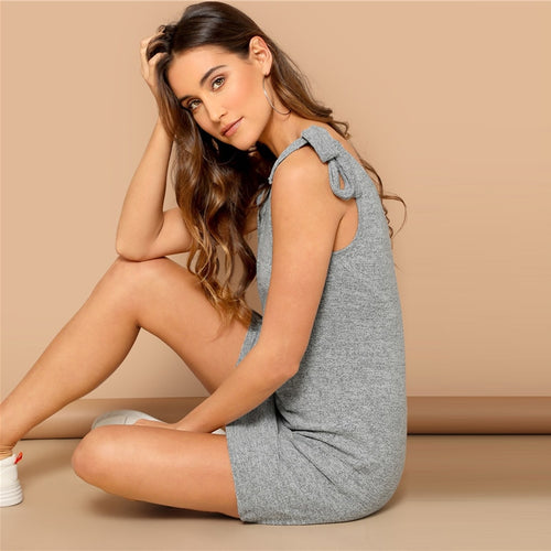 Grey Knot Strap V-Back Tank Bodycon Dress