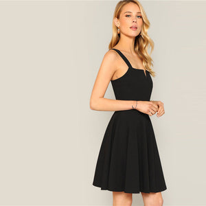 Zip Back Pleated Black Dress