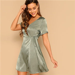 Green V Neck Surplice Wrap Knot Satin Dress