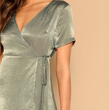 Load image into Gallery viewer, Green V Neck Surplice Wrap Knot Satin Dress