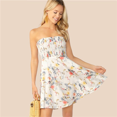 White Floral Print Fit and Flare Dress