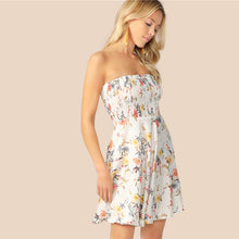Load image into Gallery viewer, White Floral Print Fit and Flare Dress