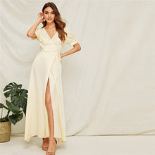 Load image into Gallery viewer, Beige Surplice High Slit Front Maxi Dress