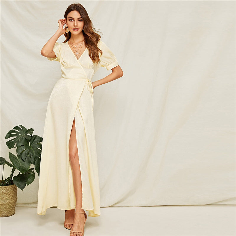Beige Surplice High Slit Front Maxi Dress