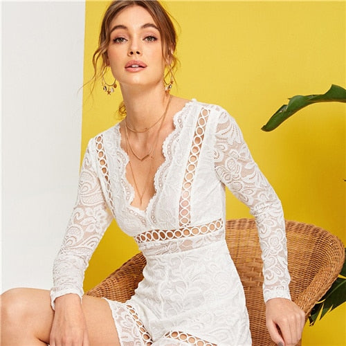 White Fringe Tie Back Lace Romper