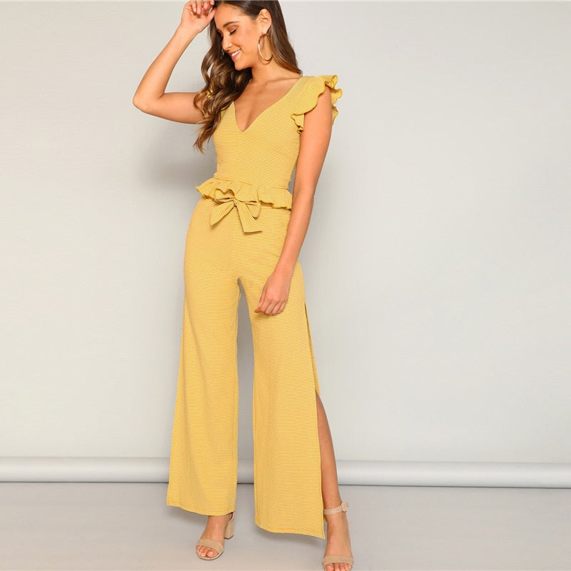 Yellow Knitted Ruffle Trim Striped Top and High Split Side Wide Leg Pants Set